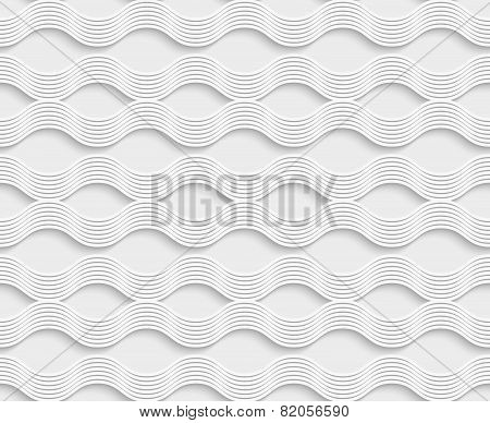 Geometrical Ornament 3D Wavy Lines On White Background