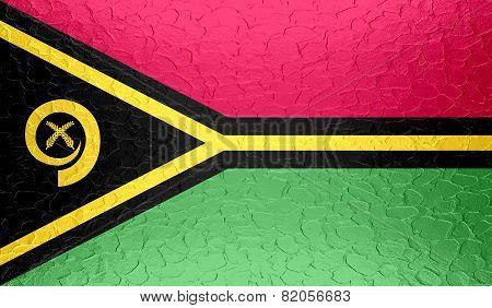 Vanuatu flag on metallic metal texture