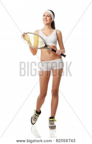 Adult woman holding a tennis racquet. .
