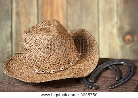 western scene with cowboy hat and horseshoes