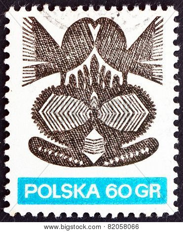 Postage Stamp Poland 1971 Paper Cut-out, Folk Art