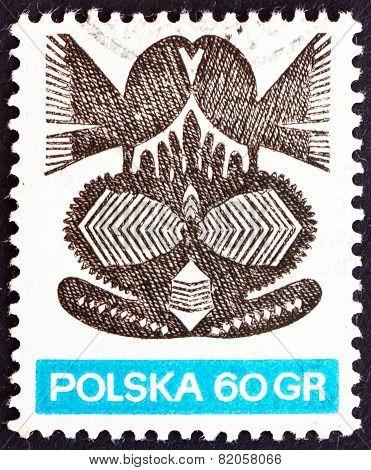 Postage Stamp Poland 1971 Paper Cut-out, Folk Art