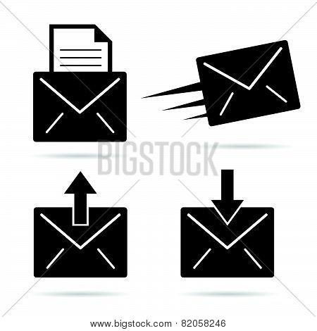 Letter Envelope Black And White Vector