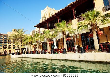 Dubai, Uae - September 9: View Of The Souk Madinat Jumeirah. Madinat Jumeirah Encompasses Two Hotels