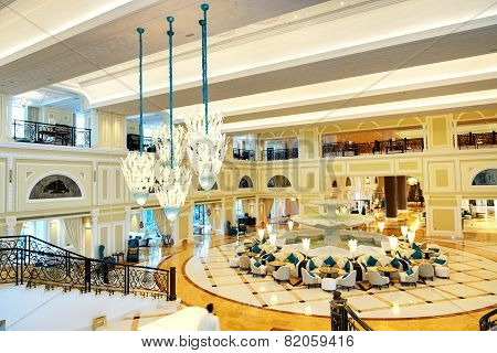 Lobby Interior Of The Luxury Hotel In Night Illumination, Ras Al Khaimah, Uae