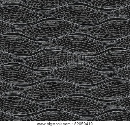 Repeating Ornament Of Many Gray Horizontal Lines Forming Ripples