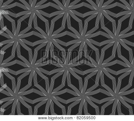 Repeating Ornament Stars With Lines On Gray
