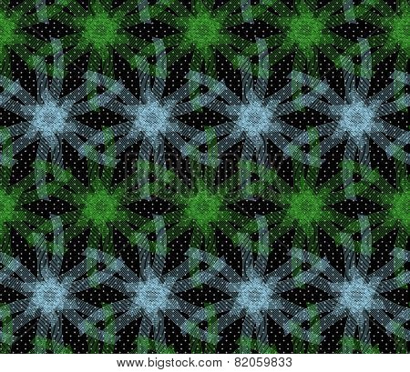 Textured Ornament With Green And Blue Linear Stars