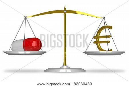 Pill And Euro Sign On Scales