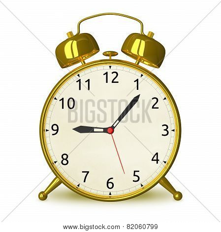 Gold Alarm Clock Isolated