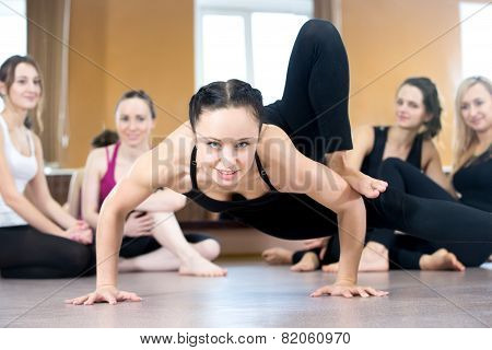 Yogi Girl Exercising, Doing Handstand Push-ups