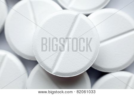 Heap Of White Round Pills, Close-up
