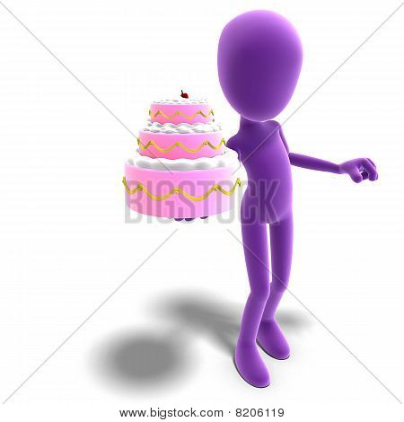 3d male icon toon character presents a huge cake