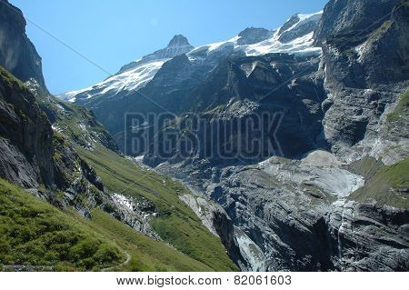 Valley And Glacier Nearby Grindelwald In Alps In Switzerland