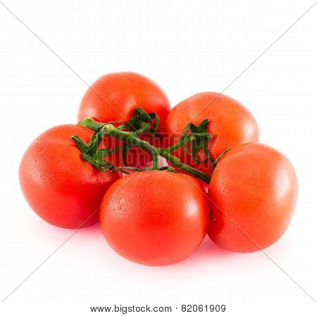 Bunch of red tomato over white background
