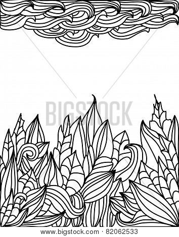 black and white illustration with the landscape