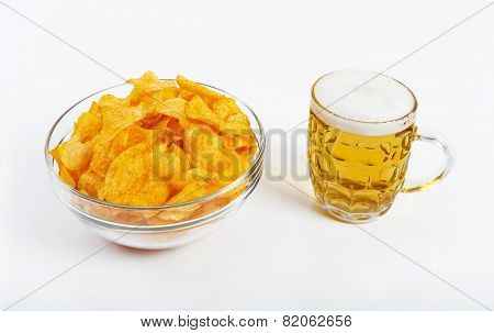 Chips And Beer White Background