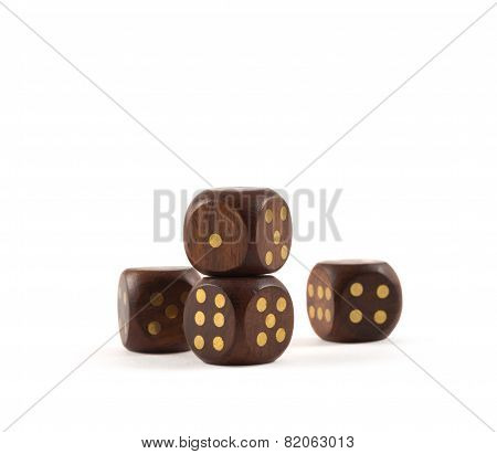 Gambling wooden dice isolated