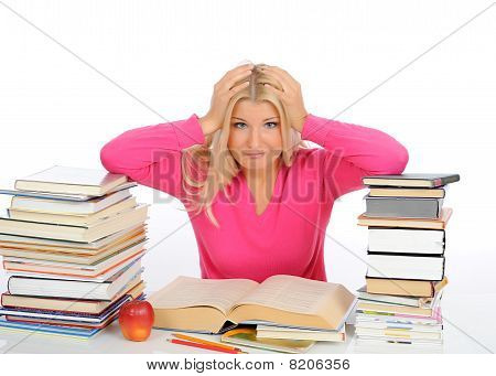 Portrait Of Young  Student Girl With Lots Of Books In Panic. Isolated On White Background