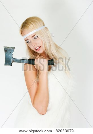 The Girl In A Fur Cape With An Axe