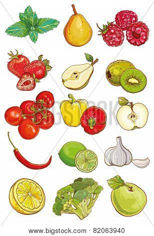 Vector Set Of Fresh Vegetables, Fruits And Berries