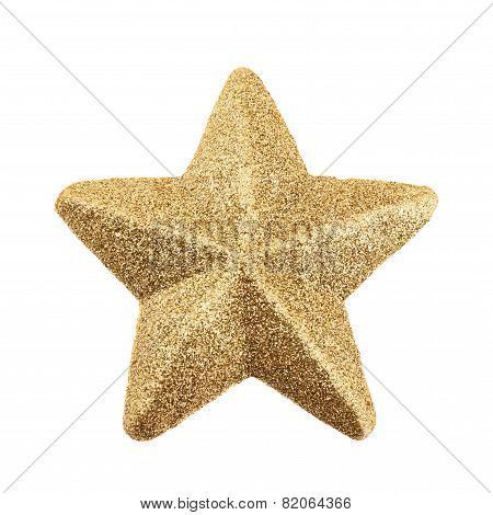 Five-pointed tinsel star isolated