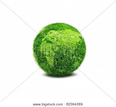 Green Planet Earth Covered With Grass