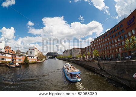 Ship On The River Spree In Berlin