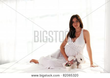 Pregnant Woman Portrait With Bear Toy