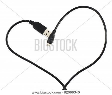 USB cable shaped as a heart