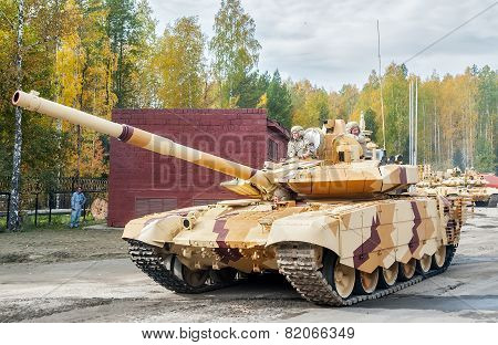 Modernized tank T-72 in motion. Russia