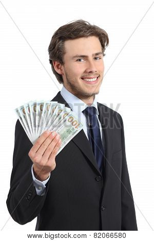 Young Happy Business Man Showing Money