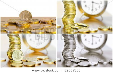 Collage Of Coins And Watches