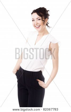 Young Office Professional Female Business Portrait On White Background