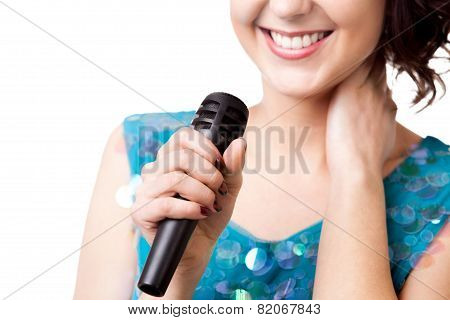 Close Up Young Woman Holding Microphone