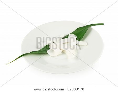 Plate of coconut's chips isolated