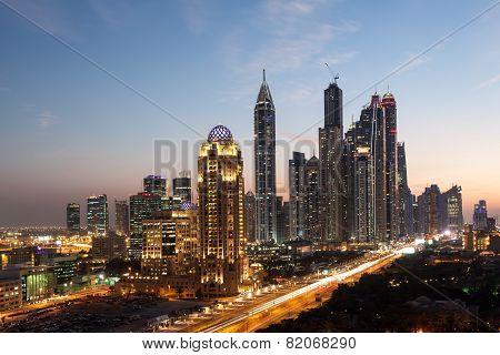 Dubai Marina Towers At Night