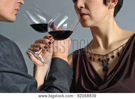 Man And Woman Drinking Wine
