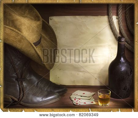 American West Background With Poker Cards