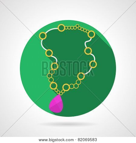 Beads necklace colored vector icon