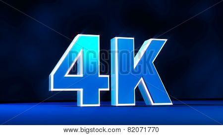 4K Ultra High Definition Resolution Three-dimensional Glow Text