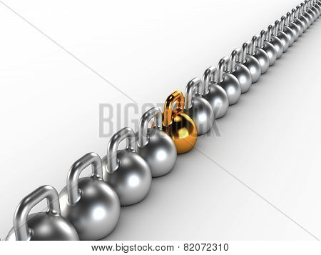 Gym weight kettle bells in a row