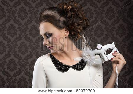 Romantic Girl White Carnival Mask
