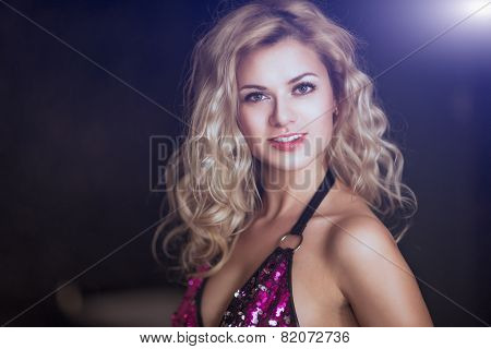 Portrait of a beautiful girl in evening dress close-up.