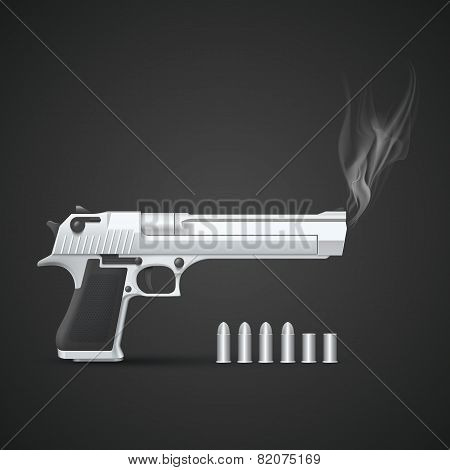 Silver gun with smoke