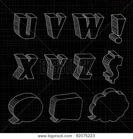 3D hand drawn uppercase alphabets and notations in black background.