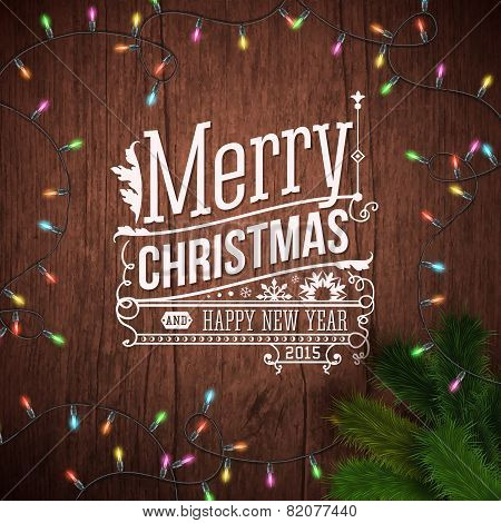 Christmas card with typography design. Wooden background, realis
