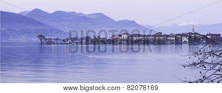 Isola dei Pescatori, Lake Maggiore, night winter view. Color image