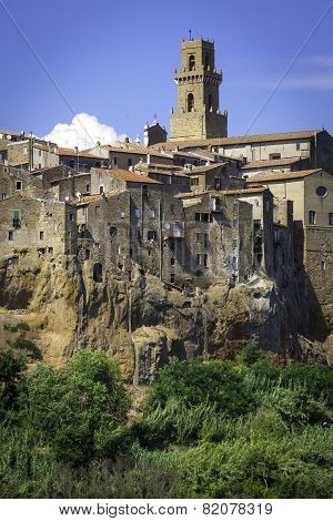 Pitigliano, Tuscany, old city view. Color image
