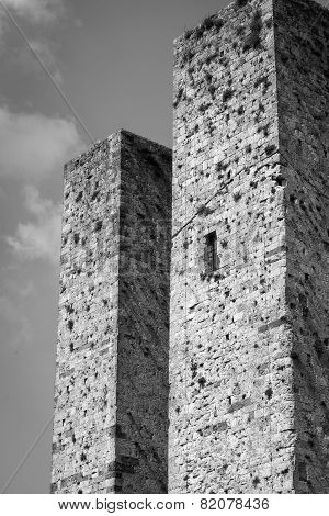 Towers of San Gimignano, Tuscany. Black and white photo